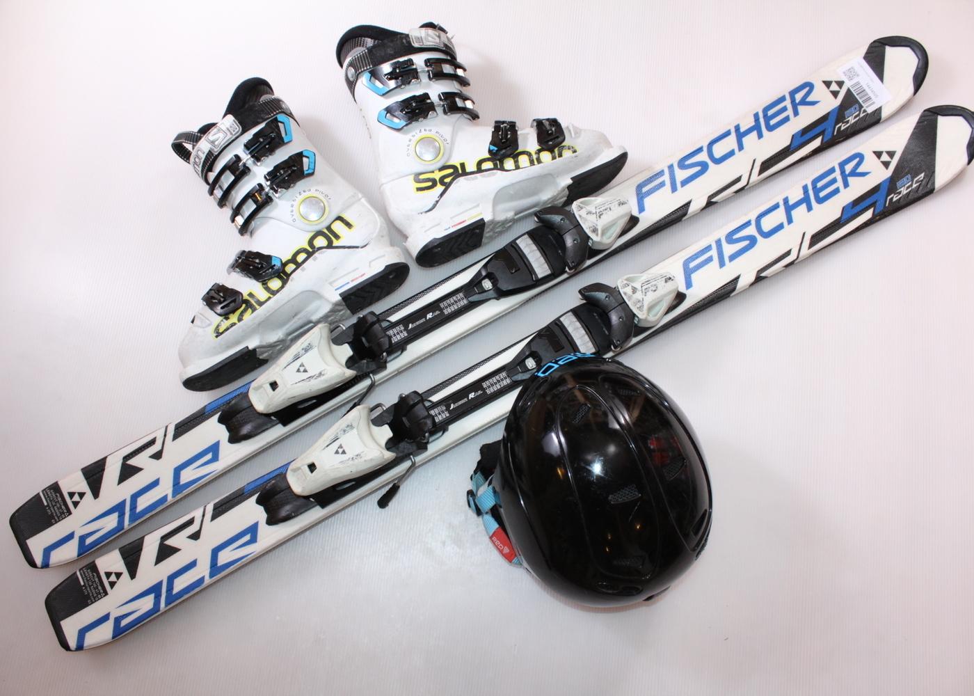 Dětské lyže FISCHER RC4 RACE 120 cm + lyžáky  36.5EU + helma