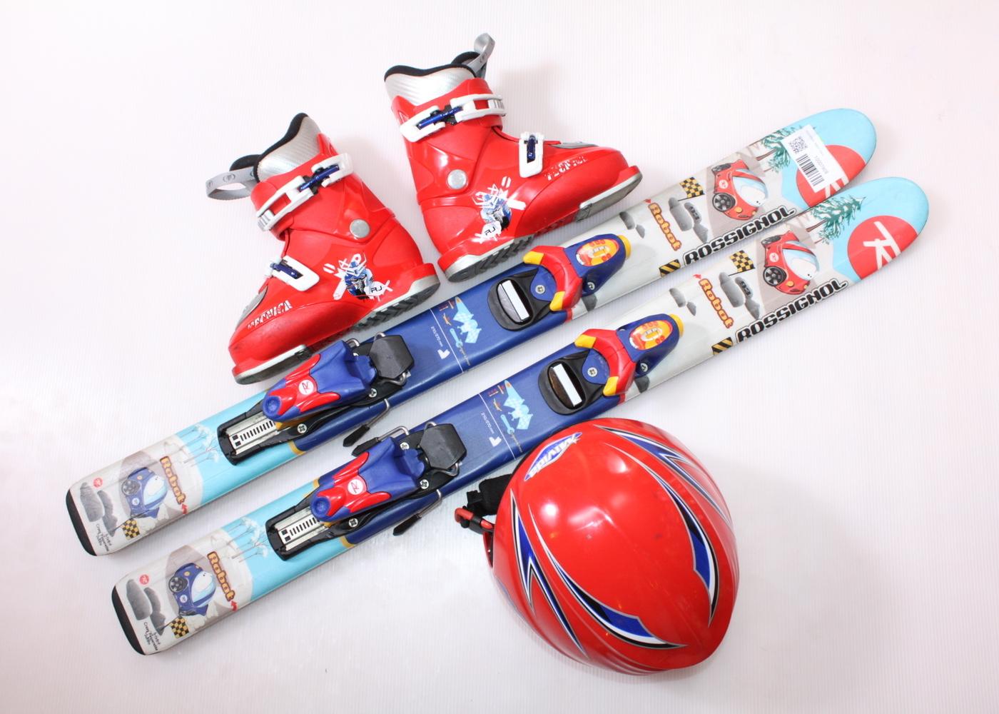 Dětské lyže ROSSIGNOL ROBOT 93 cm + lyžáky  30EU + helma