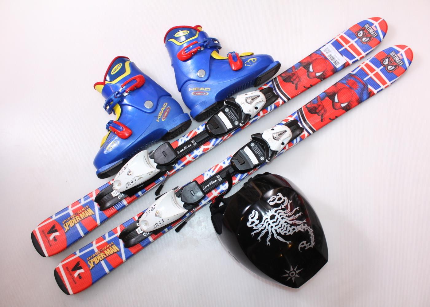 Dětské lyže HEAD SPIDER-MAN 107 cm + lyžáky  34EU + helma