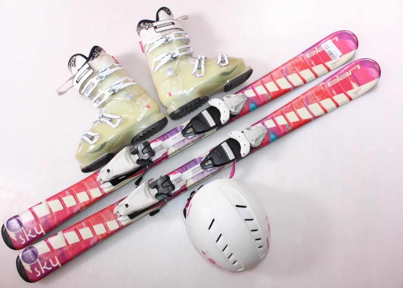 Dětské lyže ELAN SKY 120 cm + lyžáky  36.5EU + helma