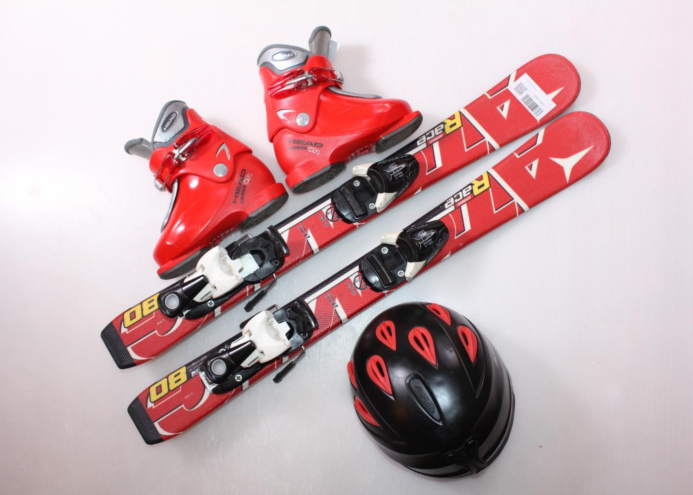 Dětské lyže ATOMIC RACE 80 cm + lyžáky  29EU + helma