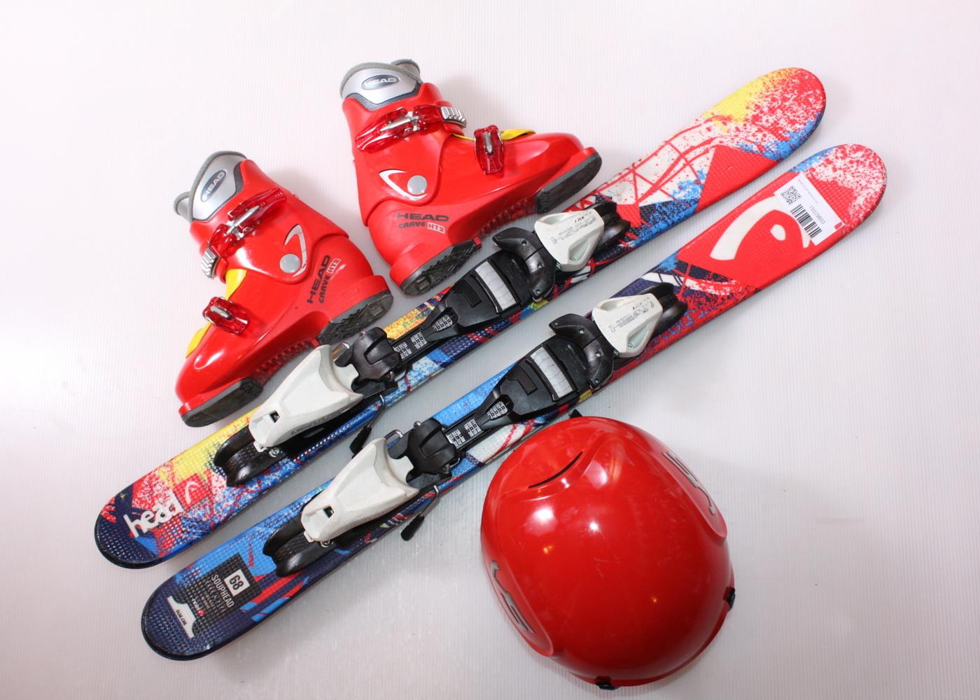 Dětské lyže HEAD SOUP HEAD 87 cm + lyžáky  30.5EU + helma