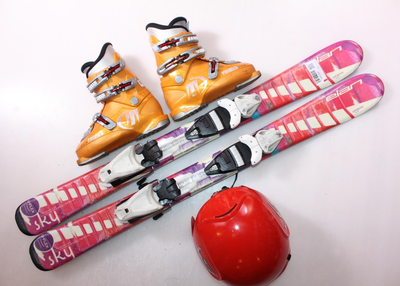 Dětské lyže ELAN SKY 100 cm + lyžáky  32EU + helma