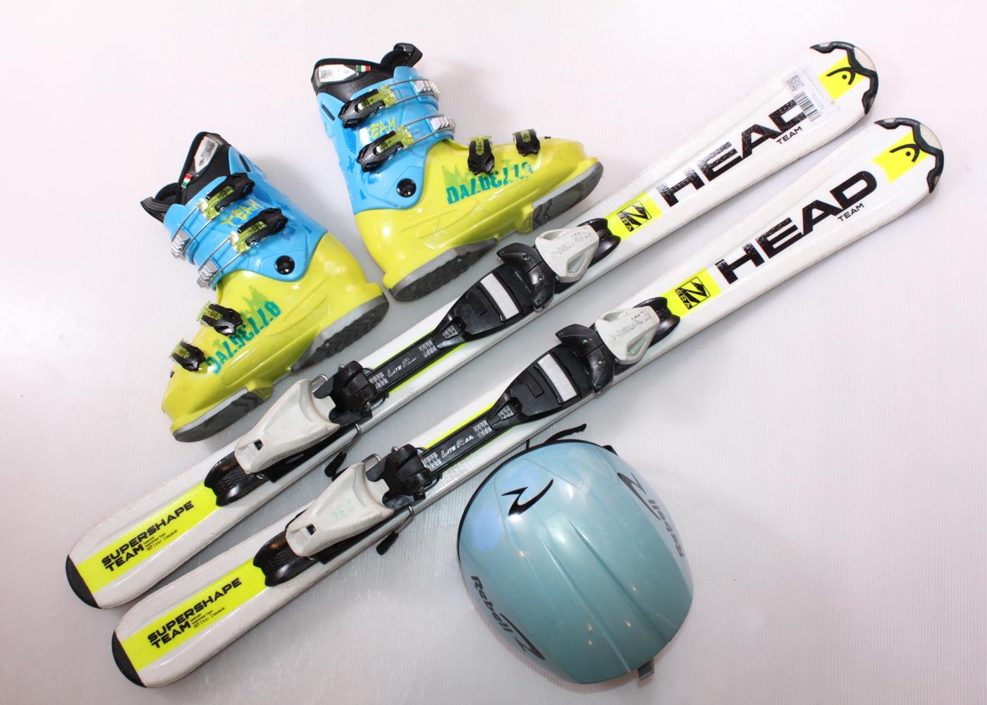Dětské lyže HEAD SUPERSHAPE TEAM 107 cm + lyžáky  36EU + helma