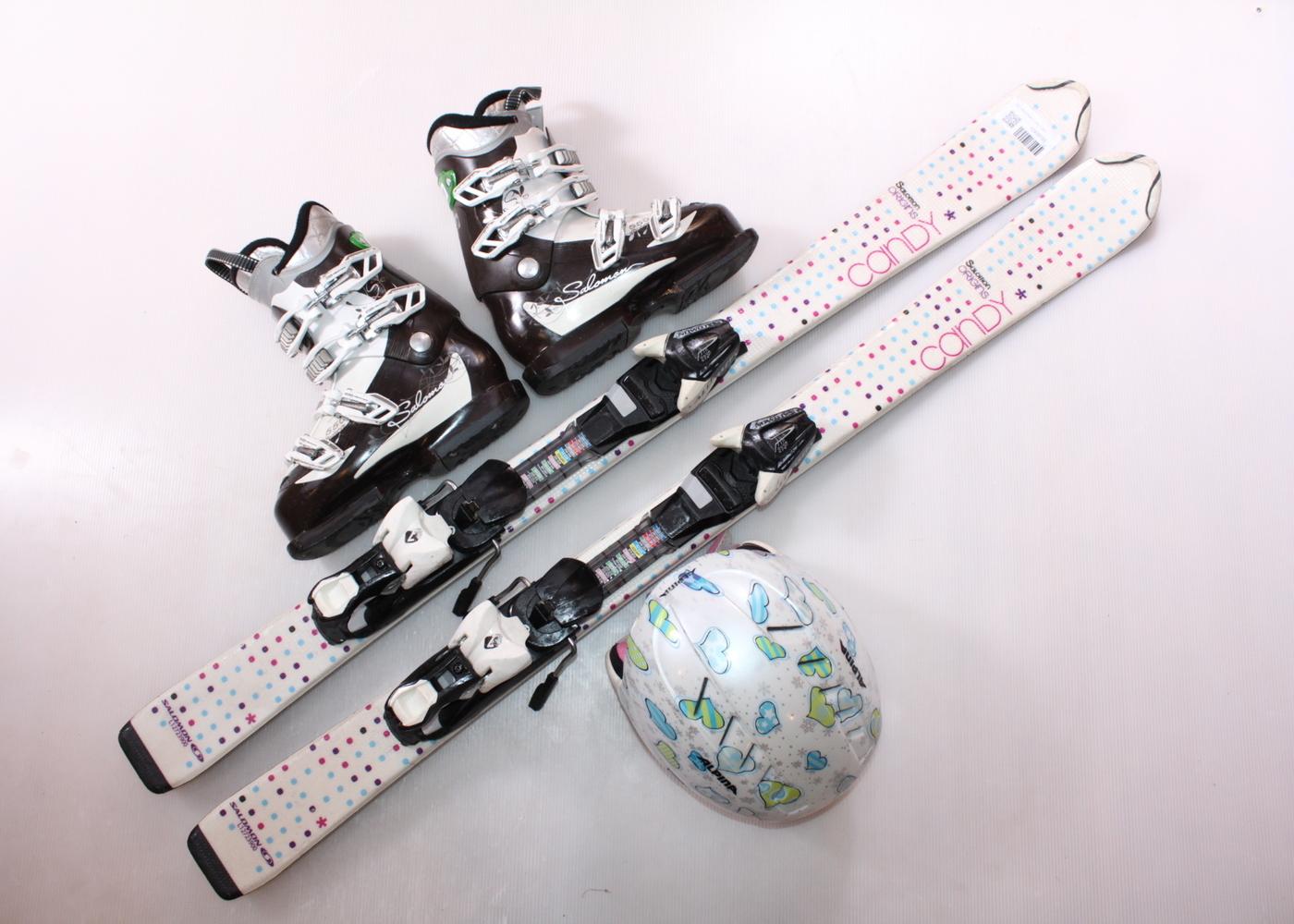 Dětské lyže SALOMON ORIGINS CANDY 120 cm + lyžáky  37EU + helma
