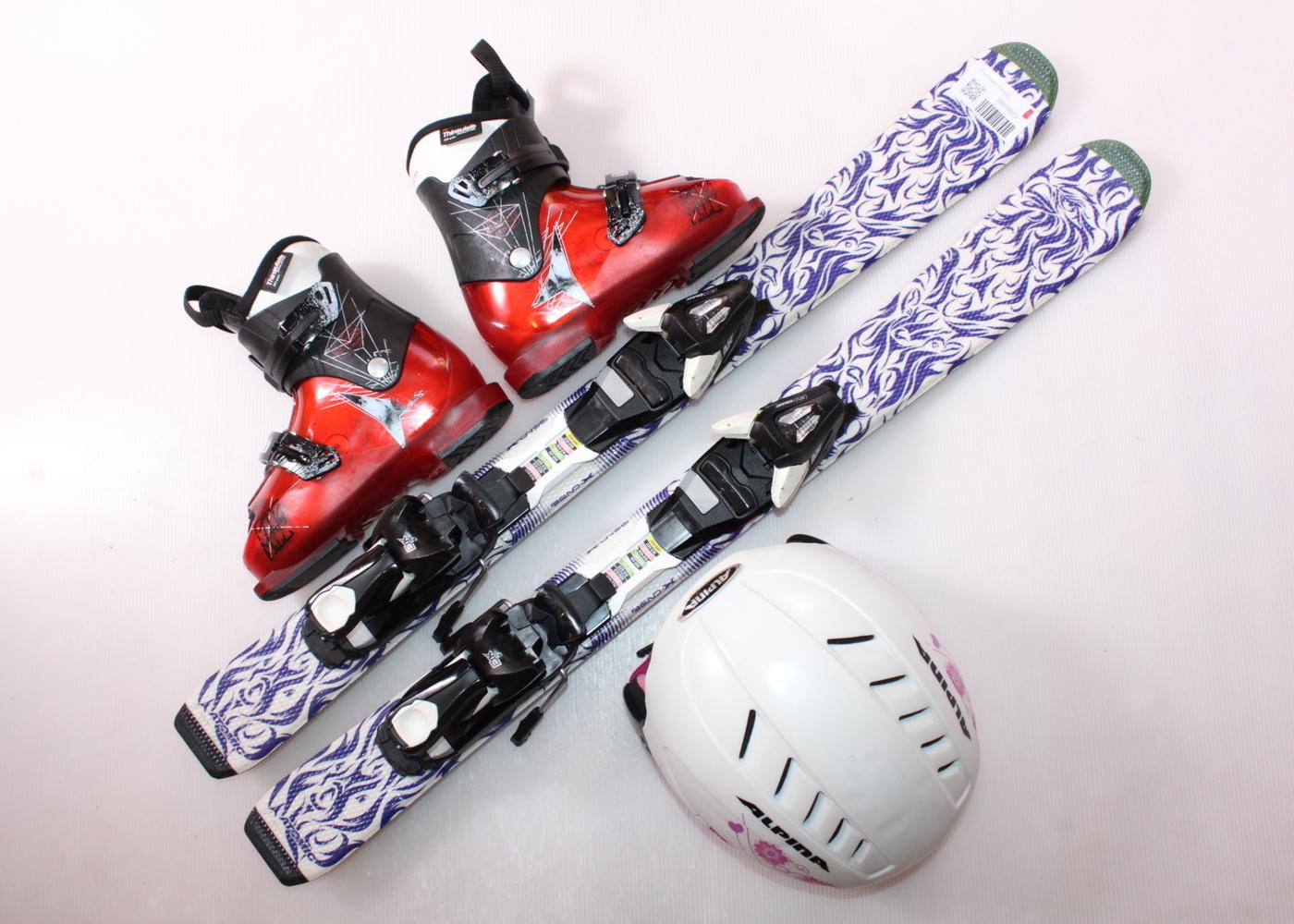 Dětské lyže ATOMIC ANIMAL FUN 90 cm + lyžáky  31EU + helma