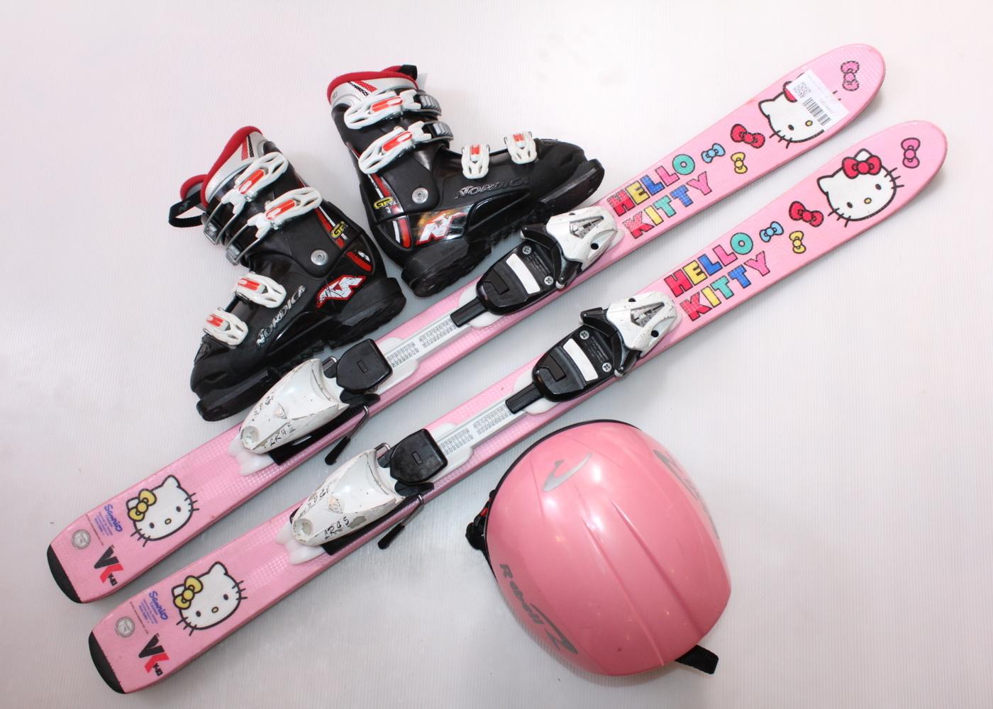 Dětské lyže HEAD HELLO KITTY 107 cm + lyžáky  32EU + helma