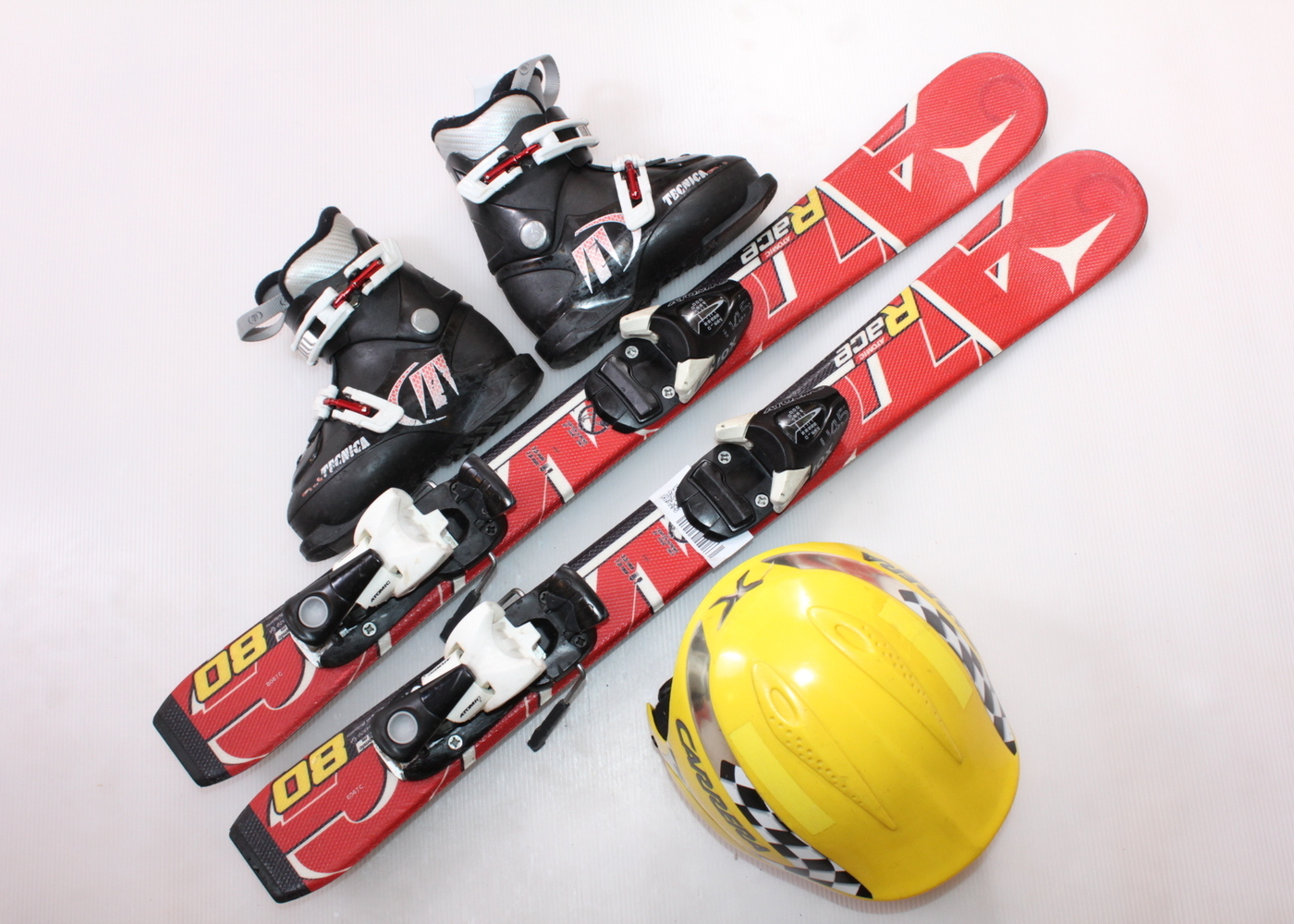 Dětské lyže ATOMIC RACE 80 cm + lyžáky  28EU + helma