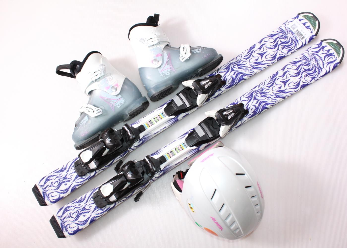 Dětské lyže ATOMIC ANIMAL FUN 100 cm + lyžáky  32EU + helma