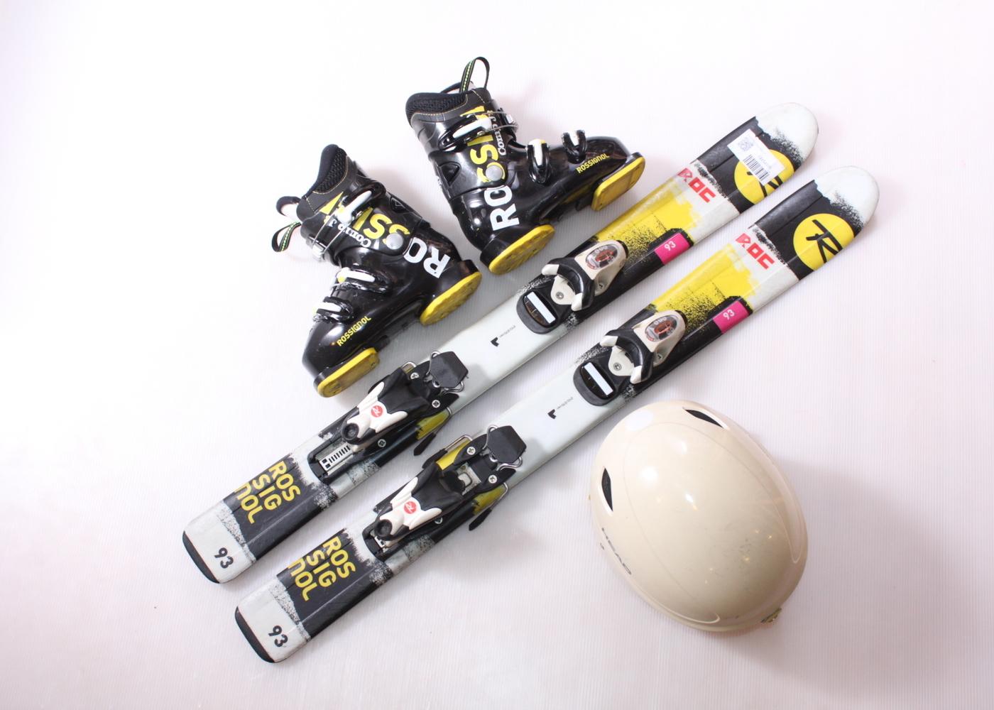 Dětské lyže ROSSIGNOL ROC 93 cm + lyžáky  29EU + helma