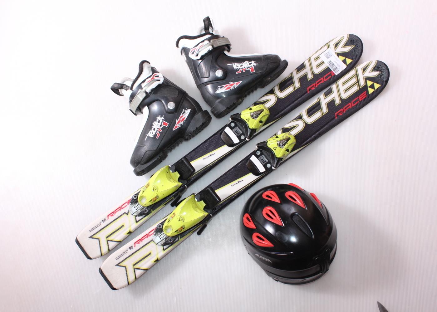 Dětské lyže FISCHER RC4 RACE 90 cm + lyžáky  28.5EU + helma