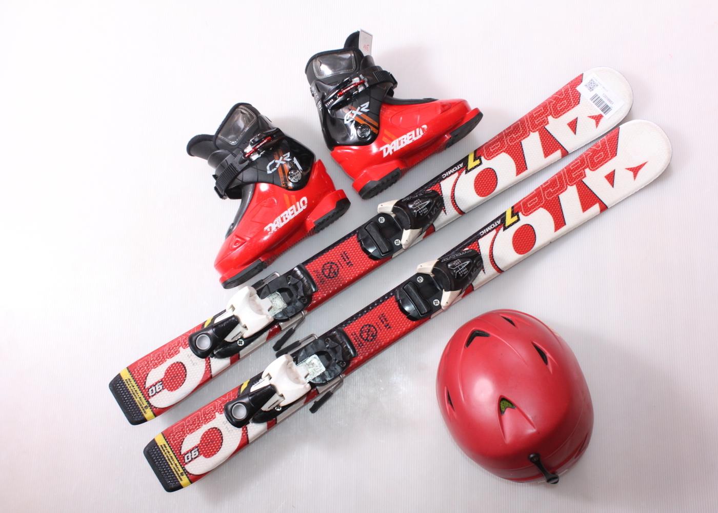Dětské lyže ATOMIC RACE 7 90 cm + lyžáky  29EU + helma
