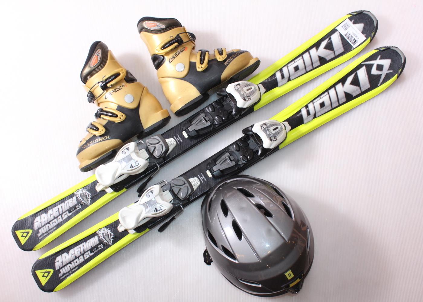 Dětské lyže VOLKL RACETIGER SL 100 cm + lyžáky  30.5EU + helma
