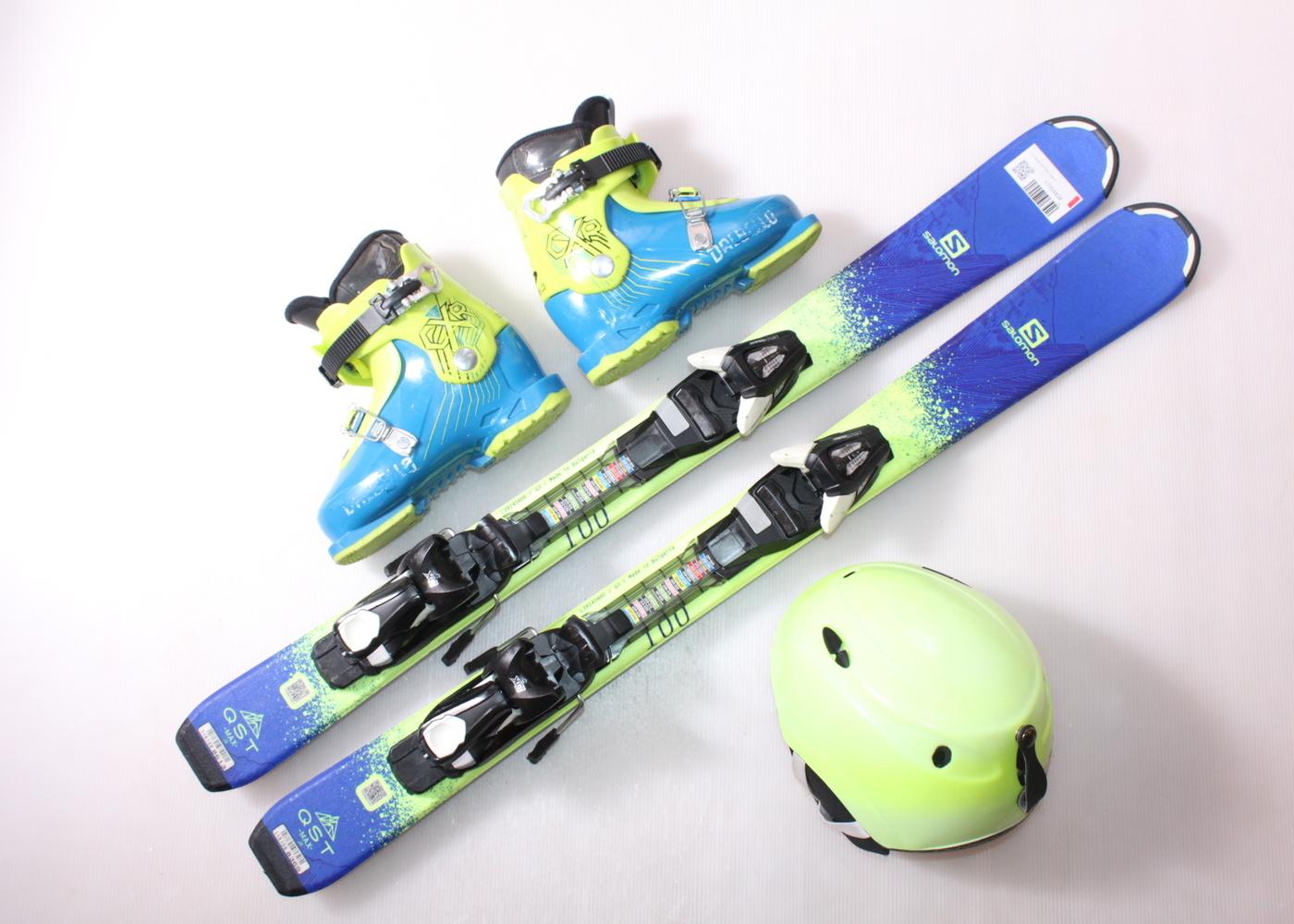 Dětské lyže SALOMON QST MAX 100 cm + lyžáky  31EU + helma