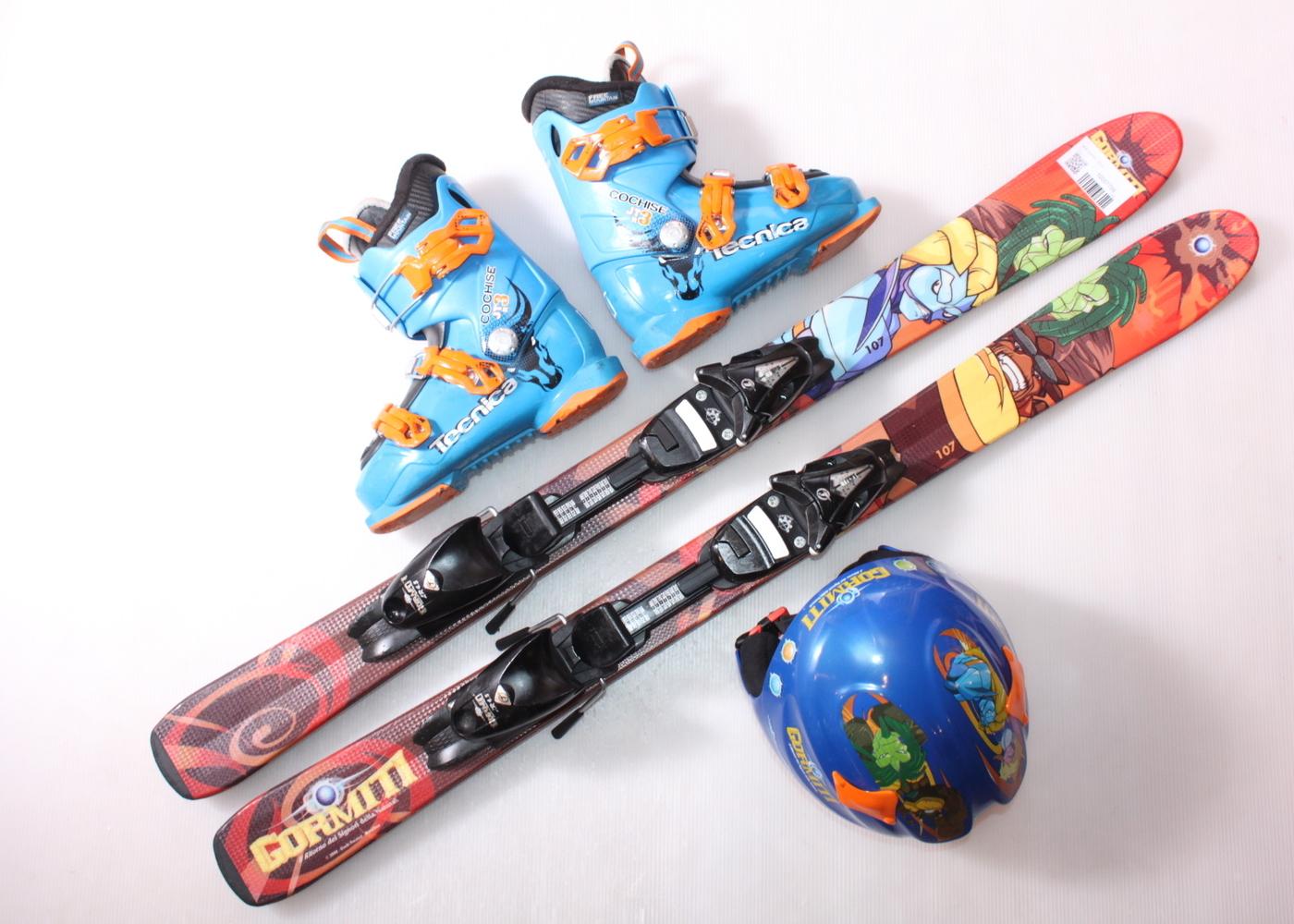 Dětské lyže HEAD GORMITI 107 cm + lyžáky  33EU + helma