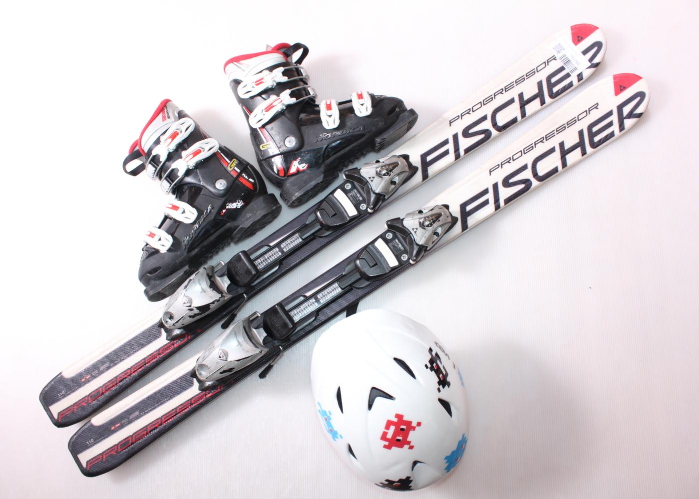 Dětské lyže FISCHER PROGRESOR 110 cm + lyžáky  33EU + helma