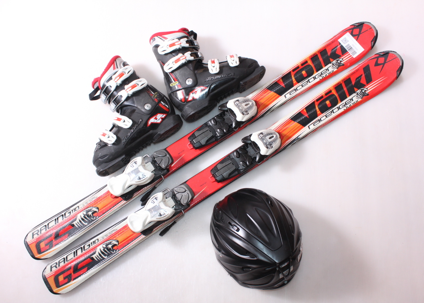 Dětské lyže VOLKL RACETIGER GS 110 cm + lyžáky  33EU + helma
