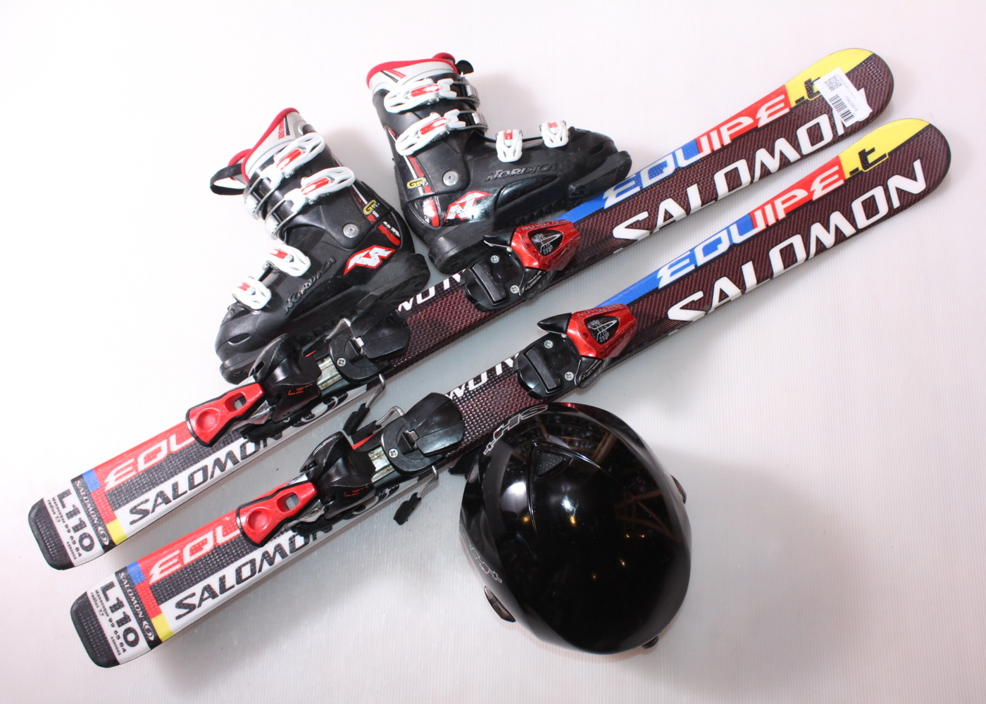 Dětské lyže SALOMON EQUIPE T 110 cm + lyžáky  33EU + helma