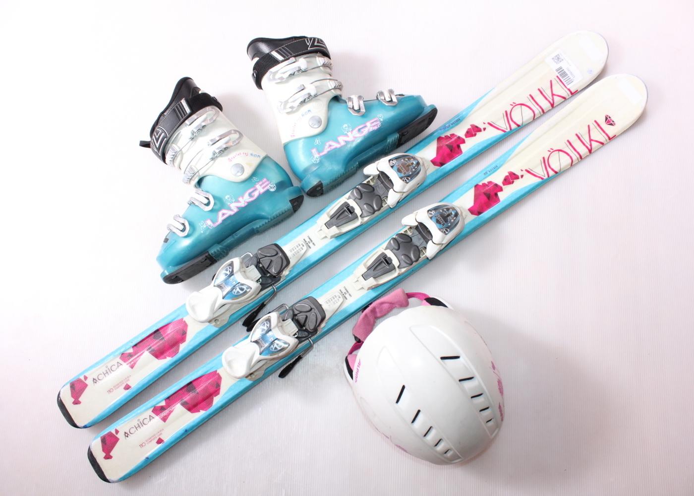 Dětské lyže VOLKL CHICA 110 cm + lyžáky  33EU + helma