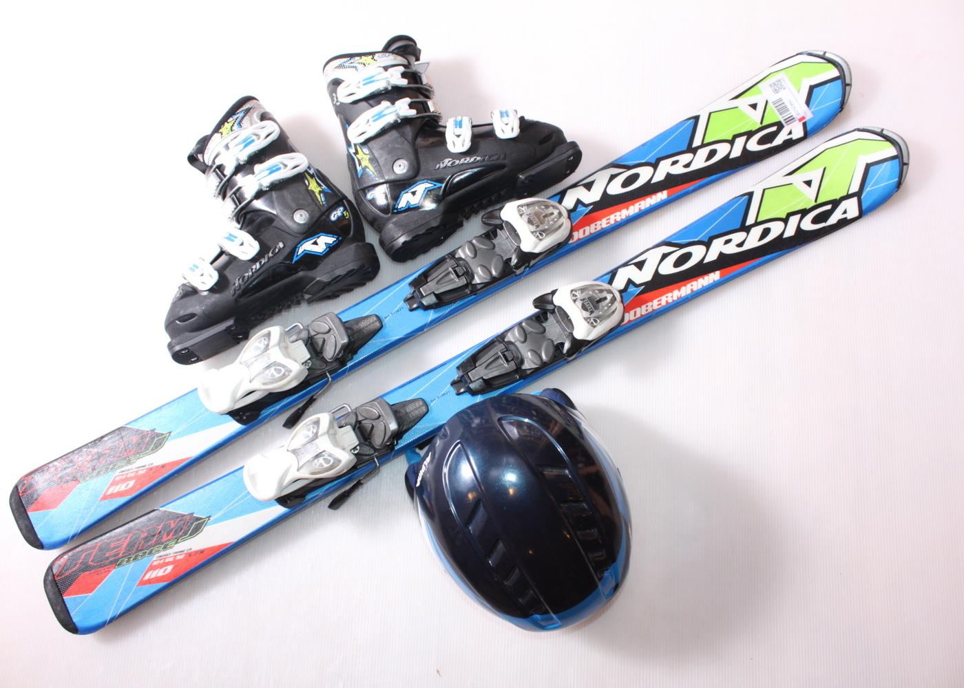 Dětské lyže NORDICA DOBERMANN TEAM RACE J 110 cm + lyžáky  33EU + helma