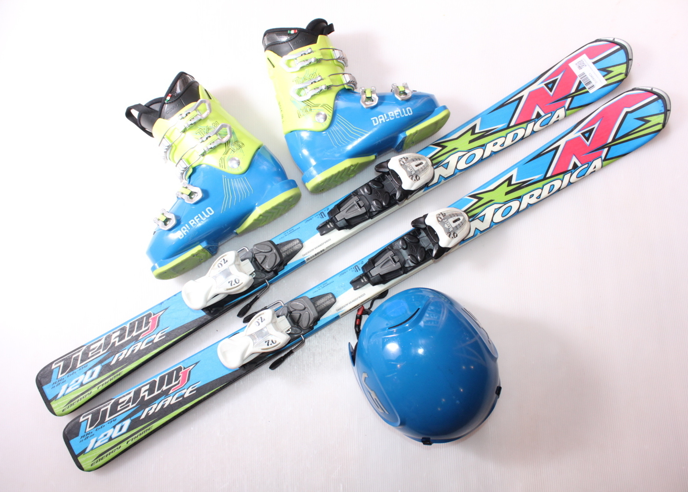 Dětské lyže NORDICA DOBERMANN TEAM RACE J 120 cm + lyžáky  36.5EU + helma