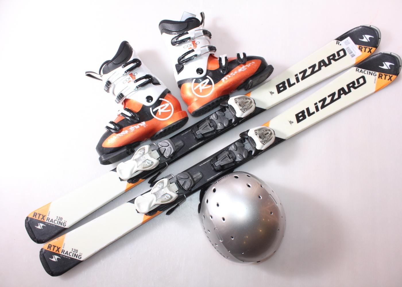 Dětské lyže BLIZZARD RTX RACING 120 cm + lyžáky  36.5EU + helma
