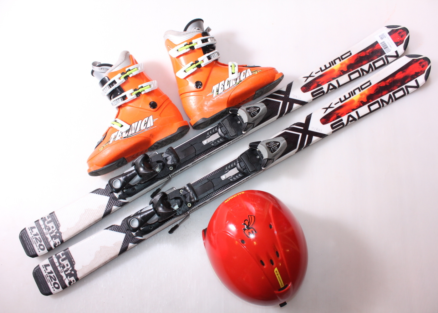 Dětské lyže SALOMON X WING FURY 120 cm + lyžáky  36.5EU + helma
