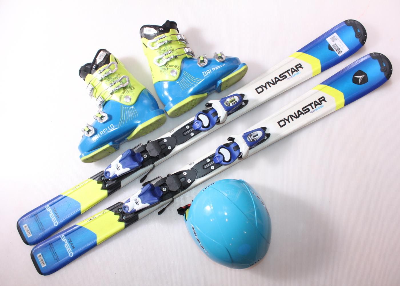 Dětské lyže DYNASTAR TEAM SPEED 120 cm + lyžáky  36EU + helma