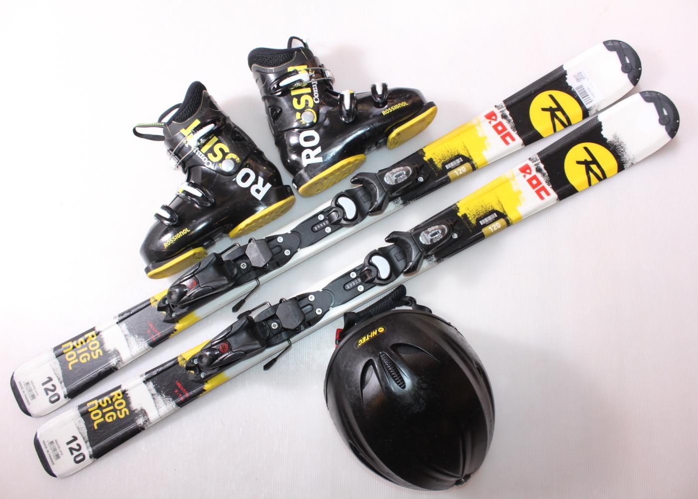 Dětské lyže ROSSIGNOL ROC 120 cm + lyžáky  36EU + helma