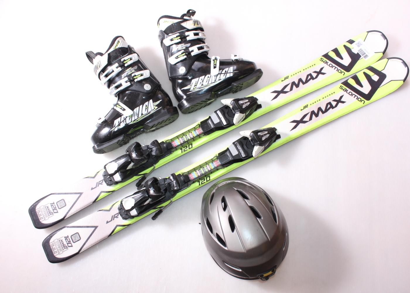 Dětské lyže SALOMON X MAX JR 120 cm + lyžáky  36EU + helma