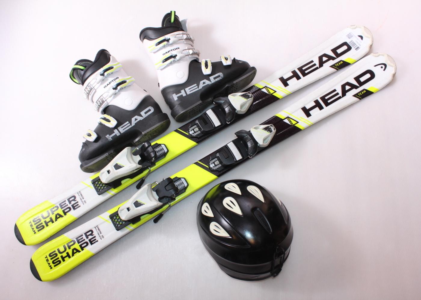 Dětské lyže HEAD SUPERSHAPE TEAM 117 cm + lyžáky  36EU + helma