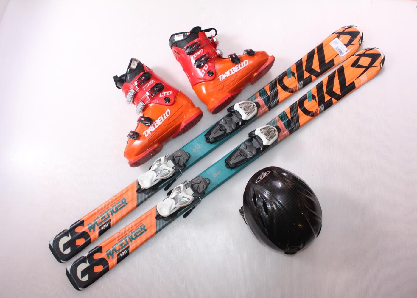 Dětské lyže VOLKL RACETIGER GS 130 cm + lyžáky  38.5EU + helma