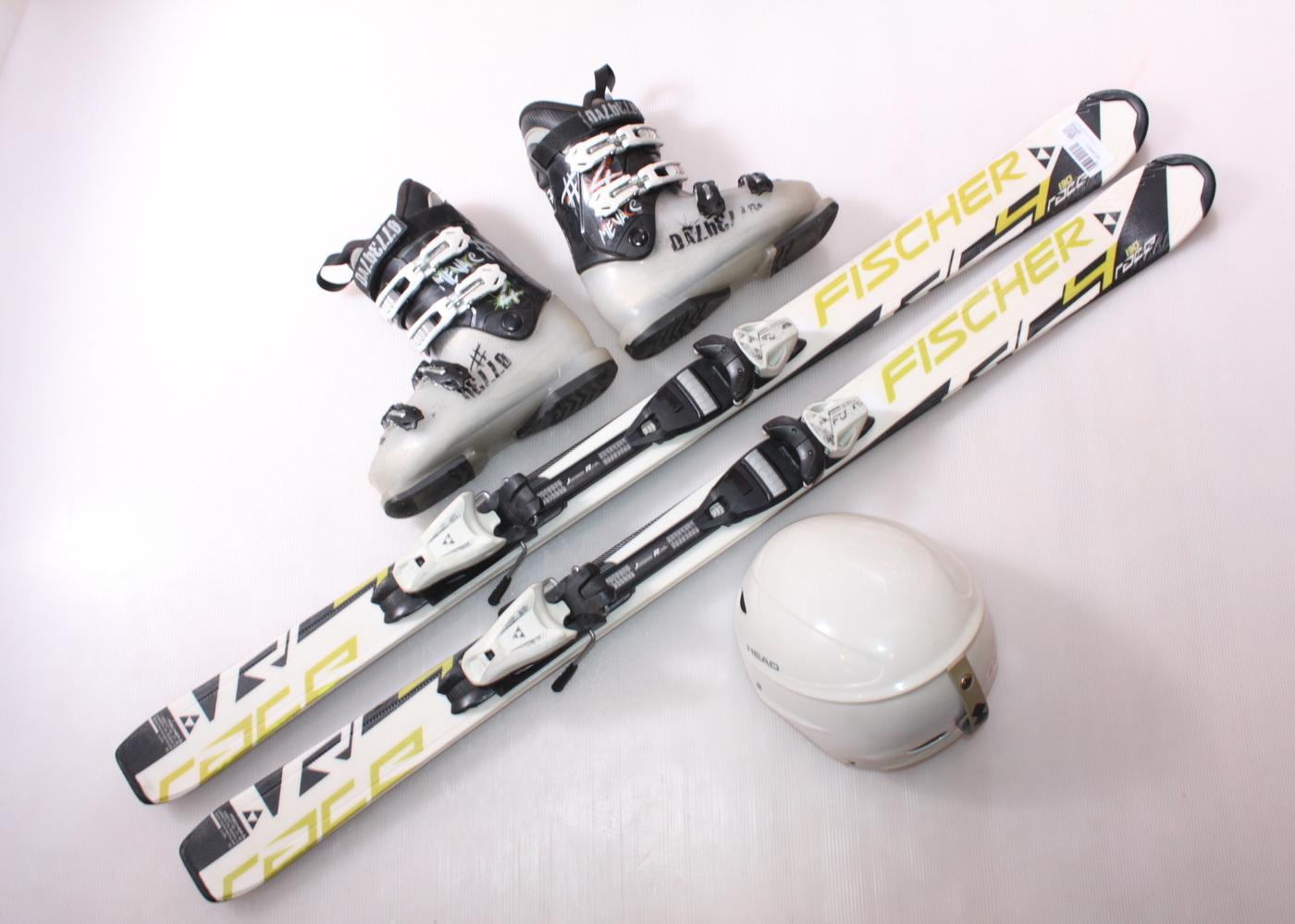 Dětské lyže FISCHER RC4 RACE 130 cm + lyžáky  37EU + helma
