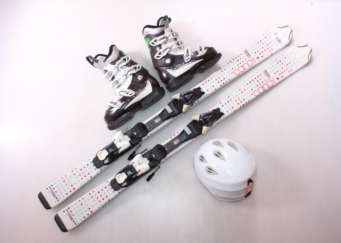 Dětské lyže SALOMON ORIGINS CANDY 130 cm + lyžáky  37EU + helma