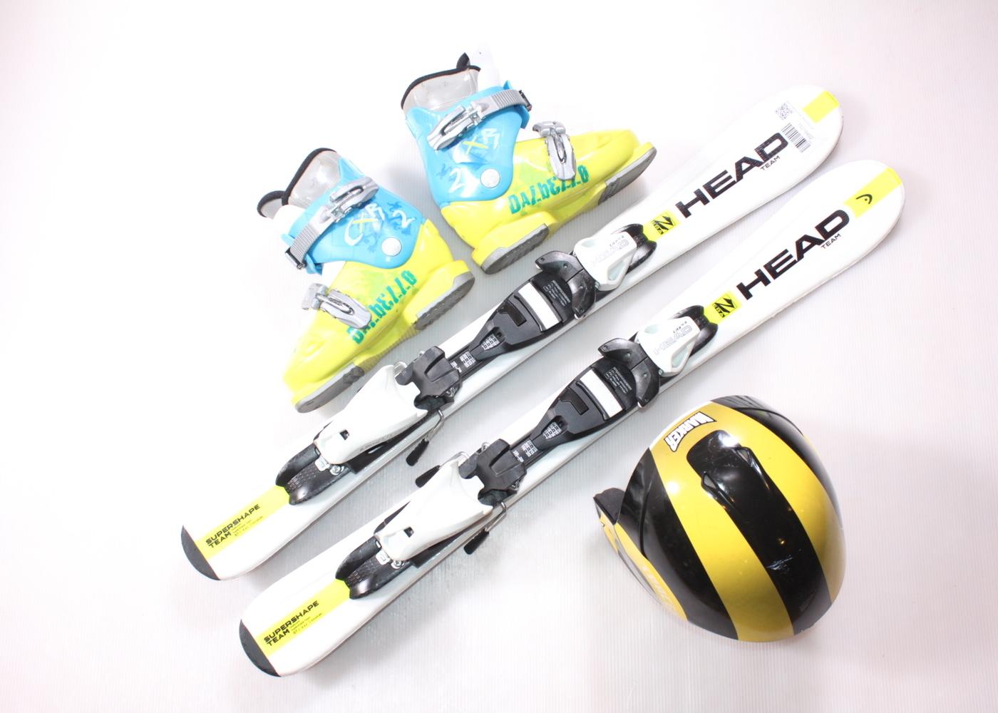 Dětské lyže HEAD SUPERSHAPE TEAM 87 cm + lyžáky  30EU + helma