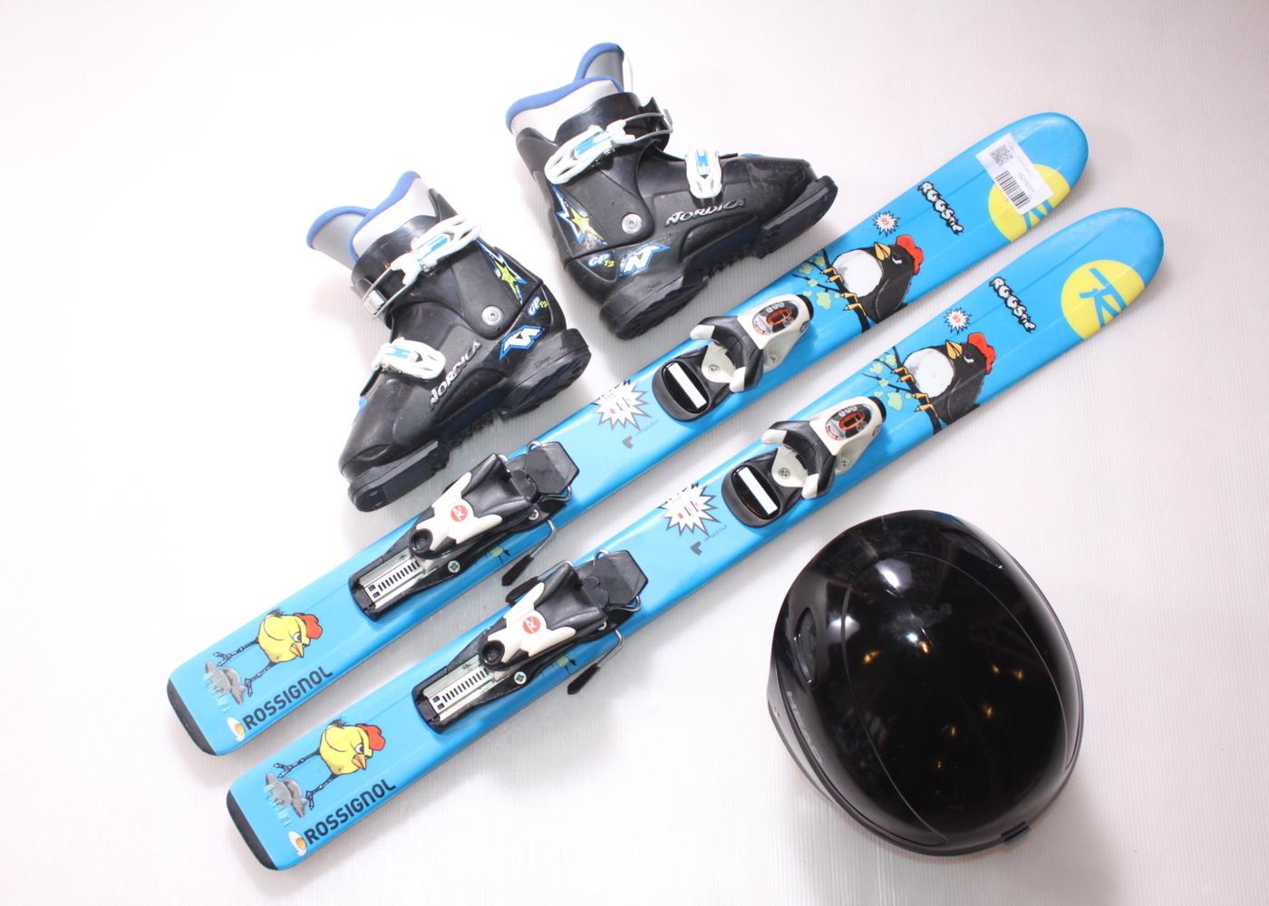 Dětské lyže ROSSIGNOL ROOSTIE 93 cm + lyžáky  30.5EU + helma