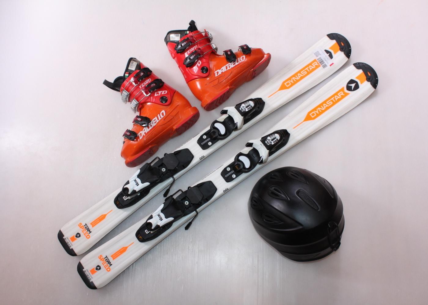 Dětské lyže DYNASTAR TEAM SPEED 100 cm + lyžáky  31EU + helma