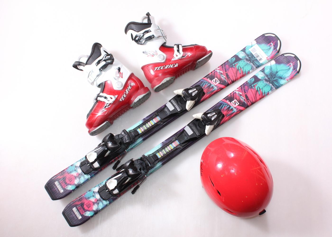 Dětské lyže SALOMON Q LUX 100 cm + lyžáky  32EU + helma