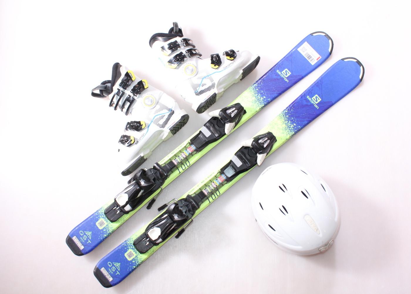 Dětské lyže SALOMON QST MAX 100 cm + lyžáky  33EU + helma