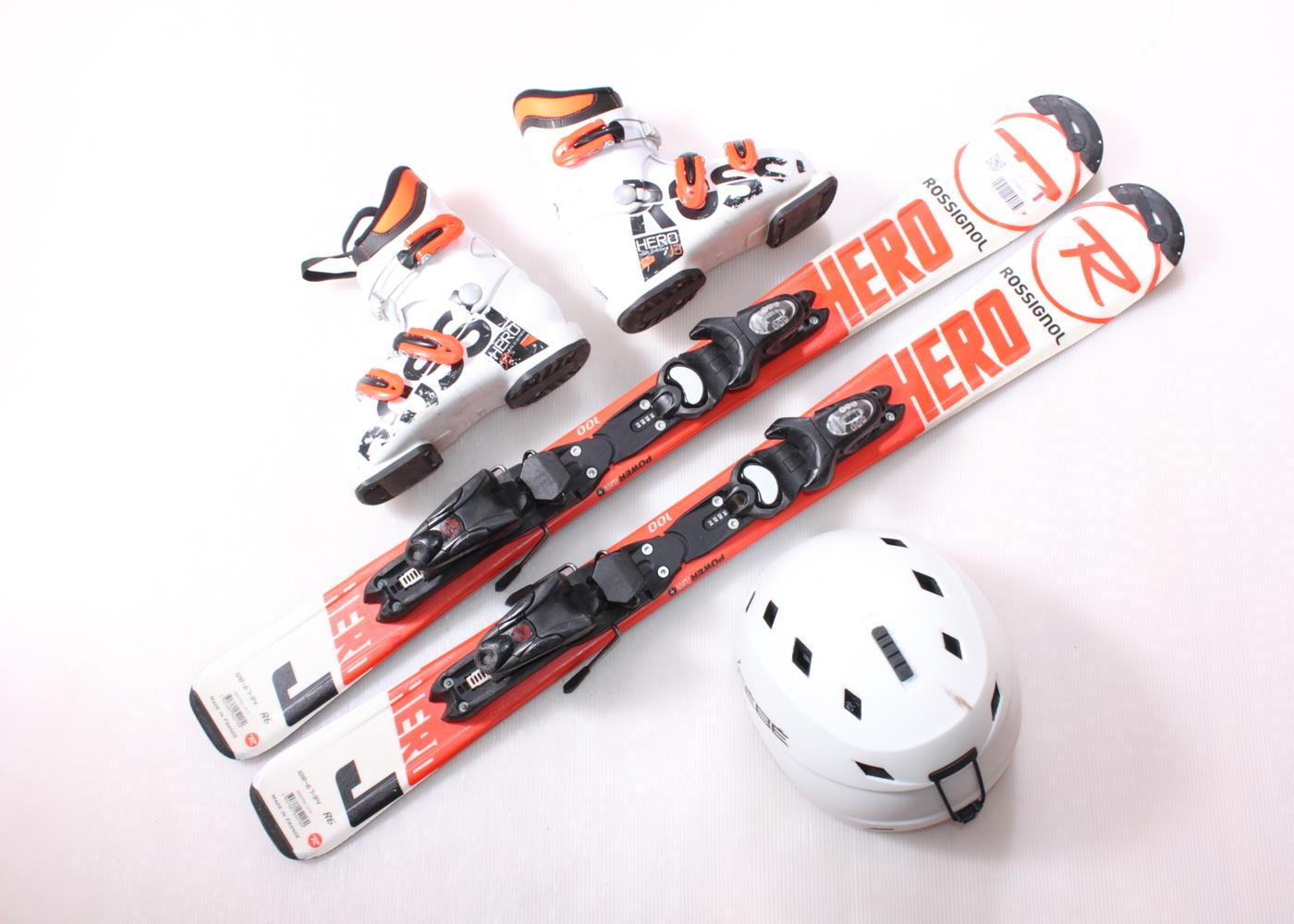 Dětské lyže ROSSIGNOL HERO J 100 cm + lyžáky  32EU + helma