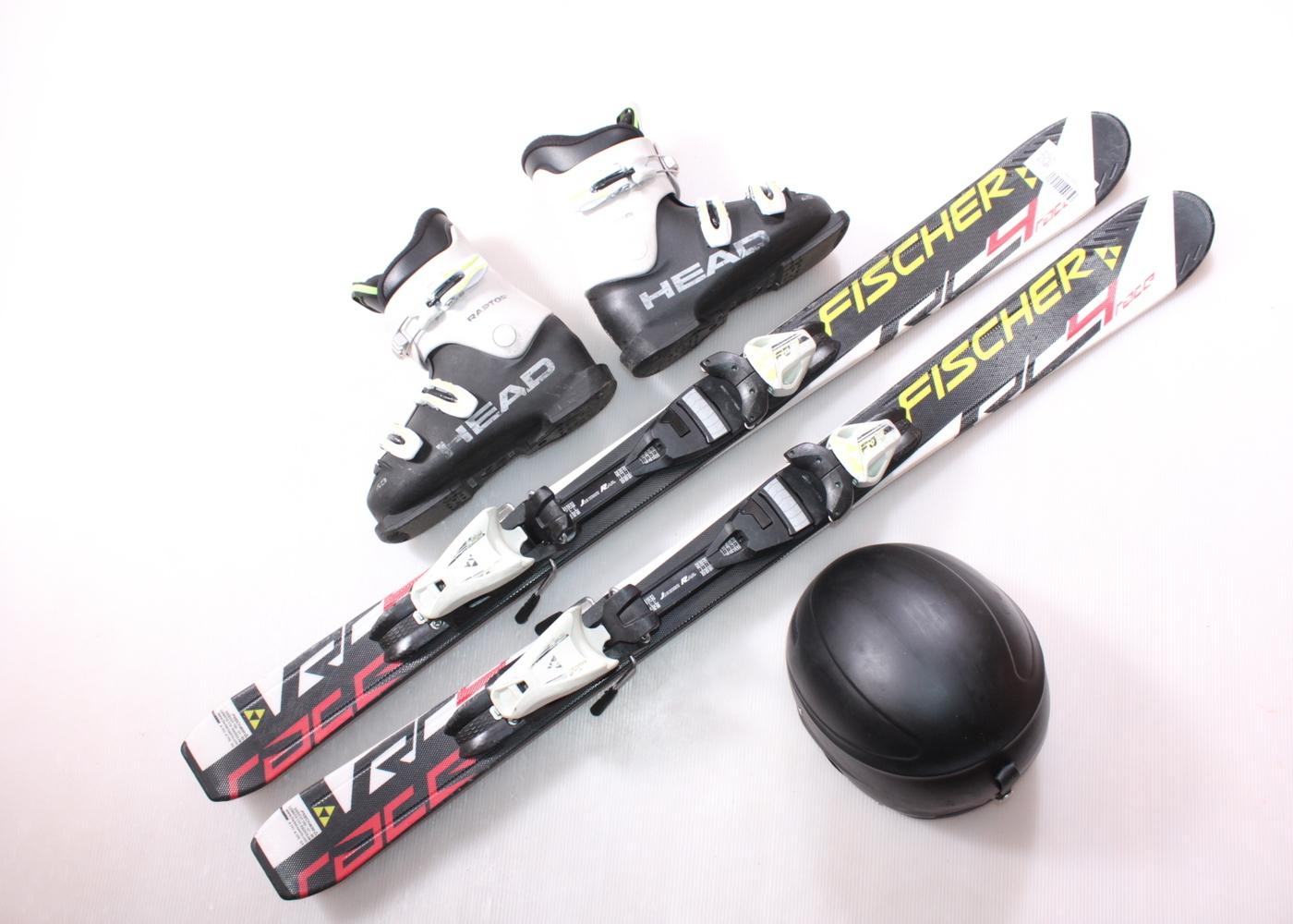 Dětské lyže FISCHER RC4 RACE 110 cm + lyžáky  34EU + helma