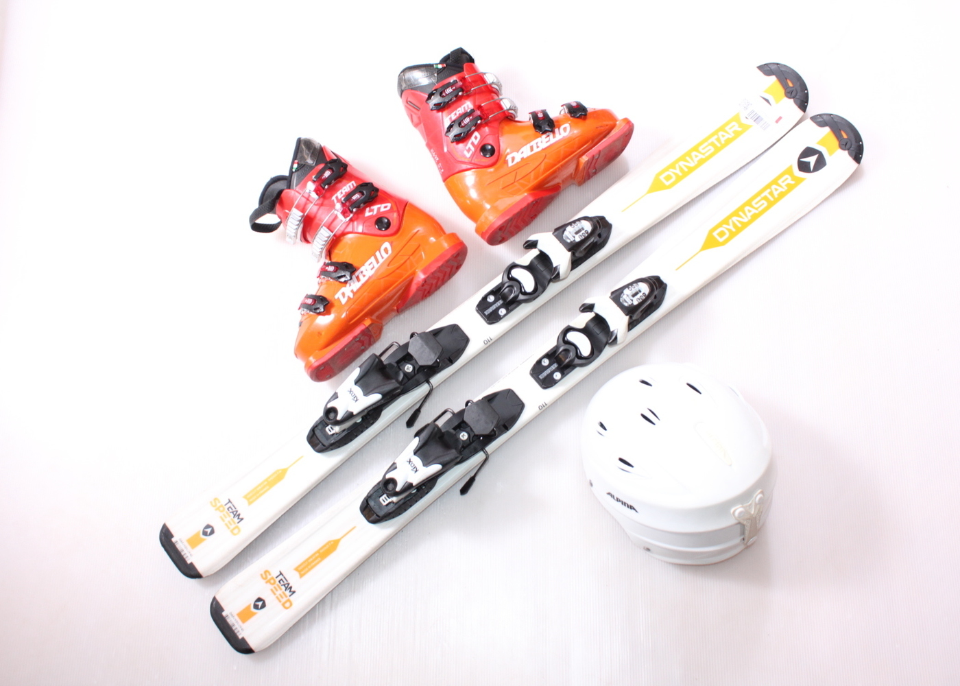 Dětské lyže DYNASTAR TEAM SPEED 110 cm + lyžáky  35EU + helma