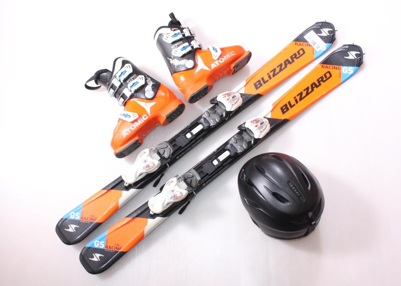Dětské lyže BLIZZARD GS RACING 110 cm + lyžáky  34EU + helma