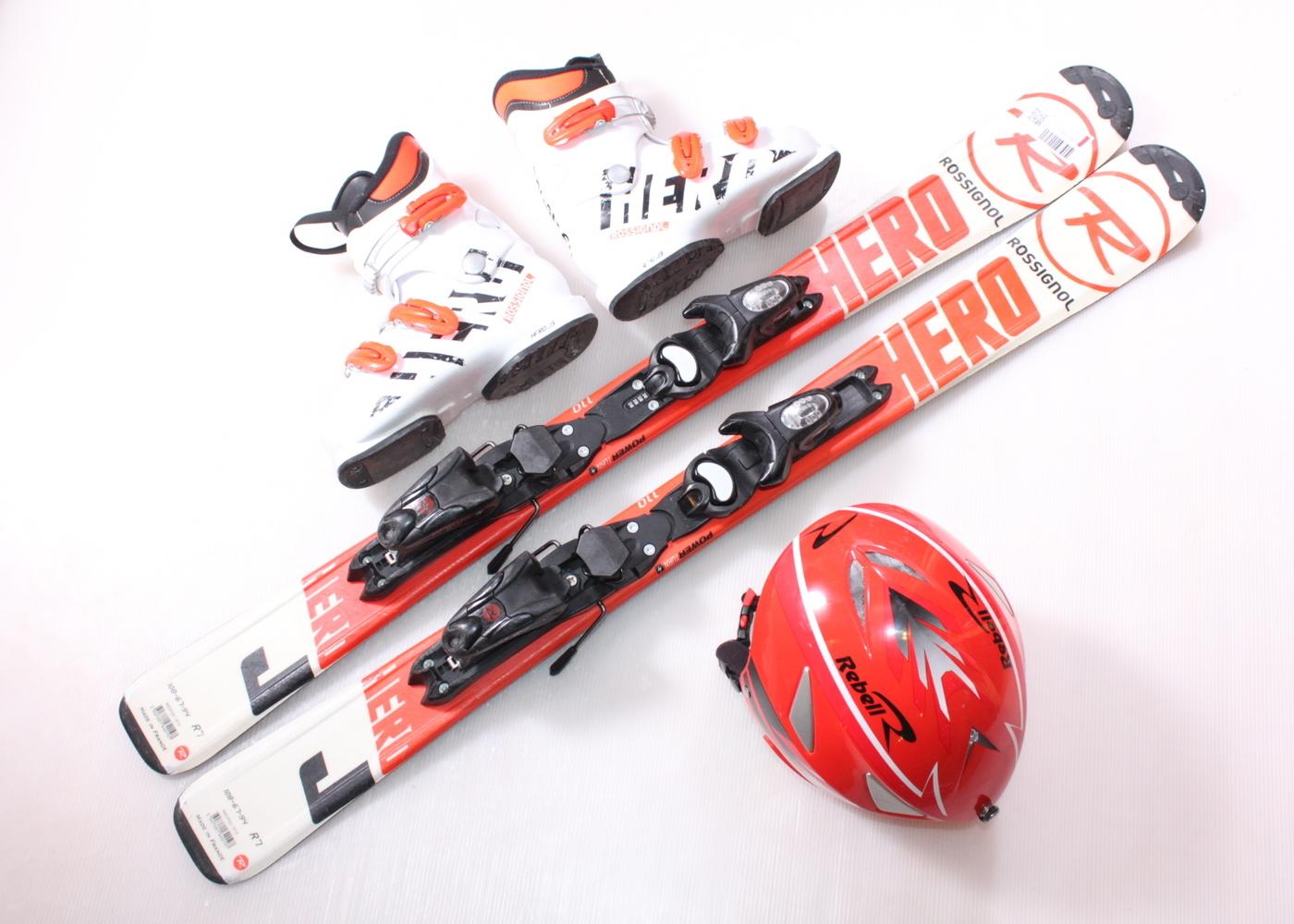 Dětské lyže ROSSIGNOL HERO JUNIOR 110 cm + lyžáky  36EU + helma