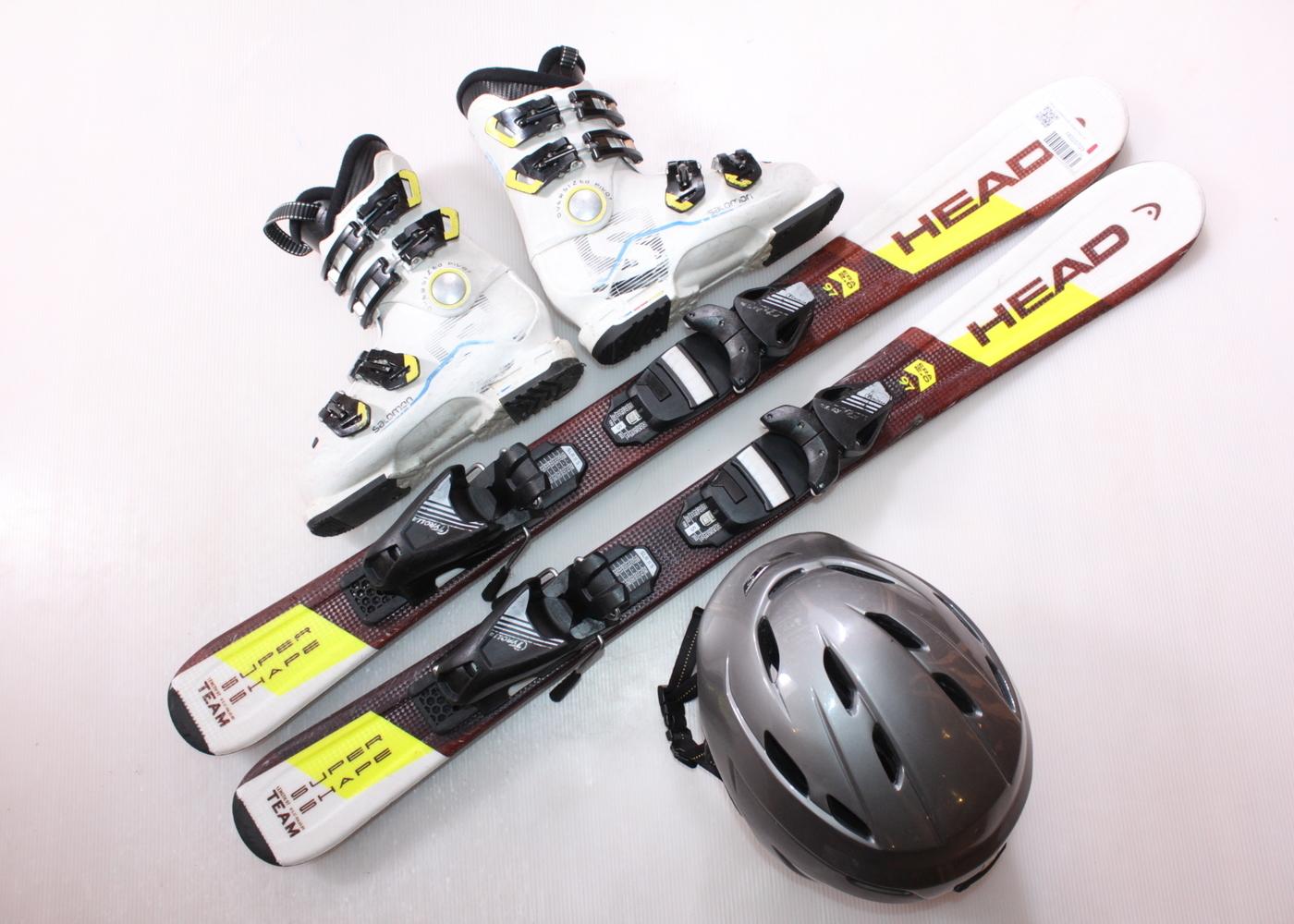 Dětské lyže HEAD SUPERSHAPE TEAM 97 cm + lyžáky  31EU + helma