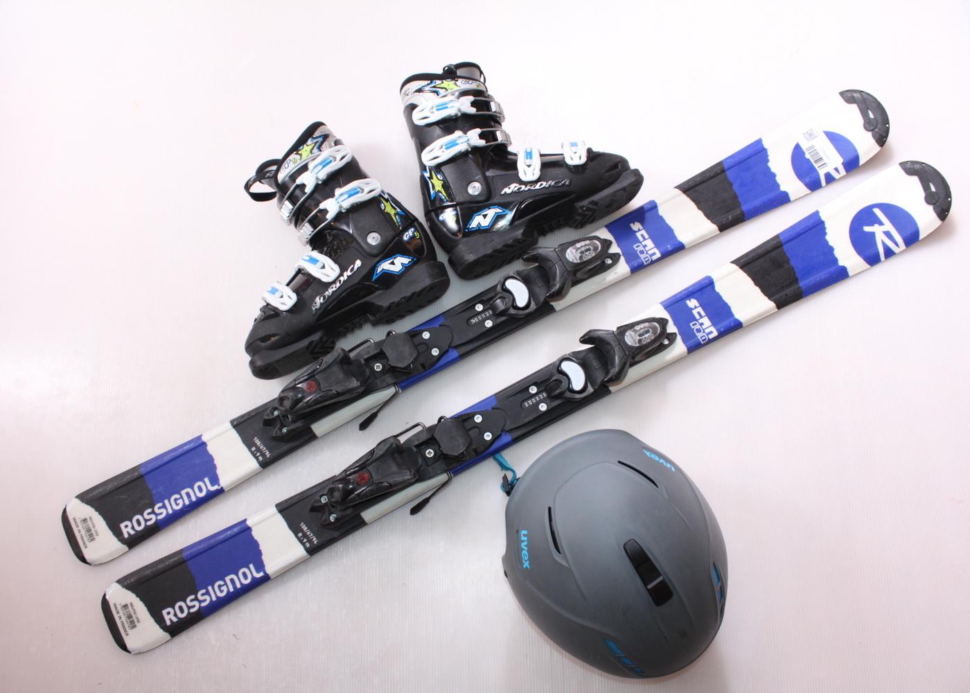 Dětské lyže ROSSIGNOL SCAN 120 cm + lyžáky  36.5EU + helma