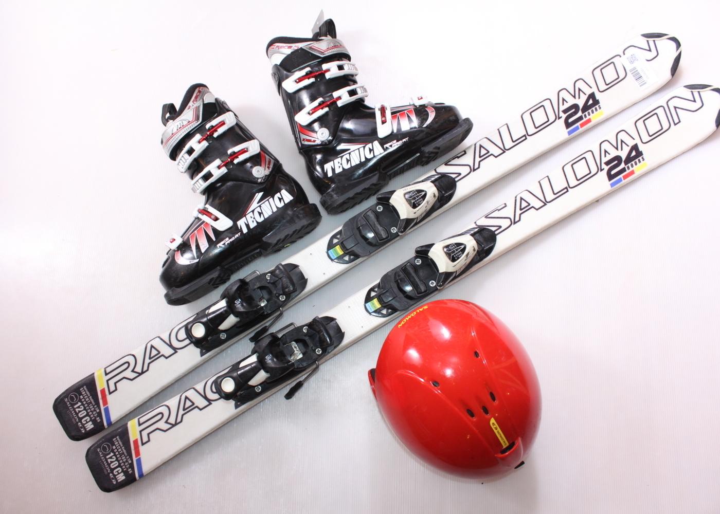 Dětské lyže SALOMON RACE 24 H 120 cm + lyžáky  36.5EU + helma