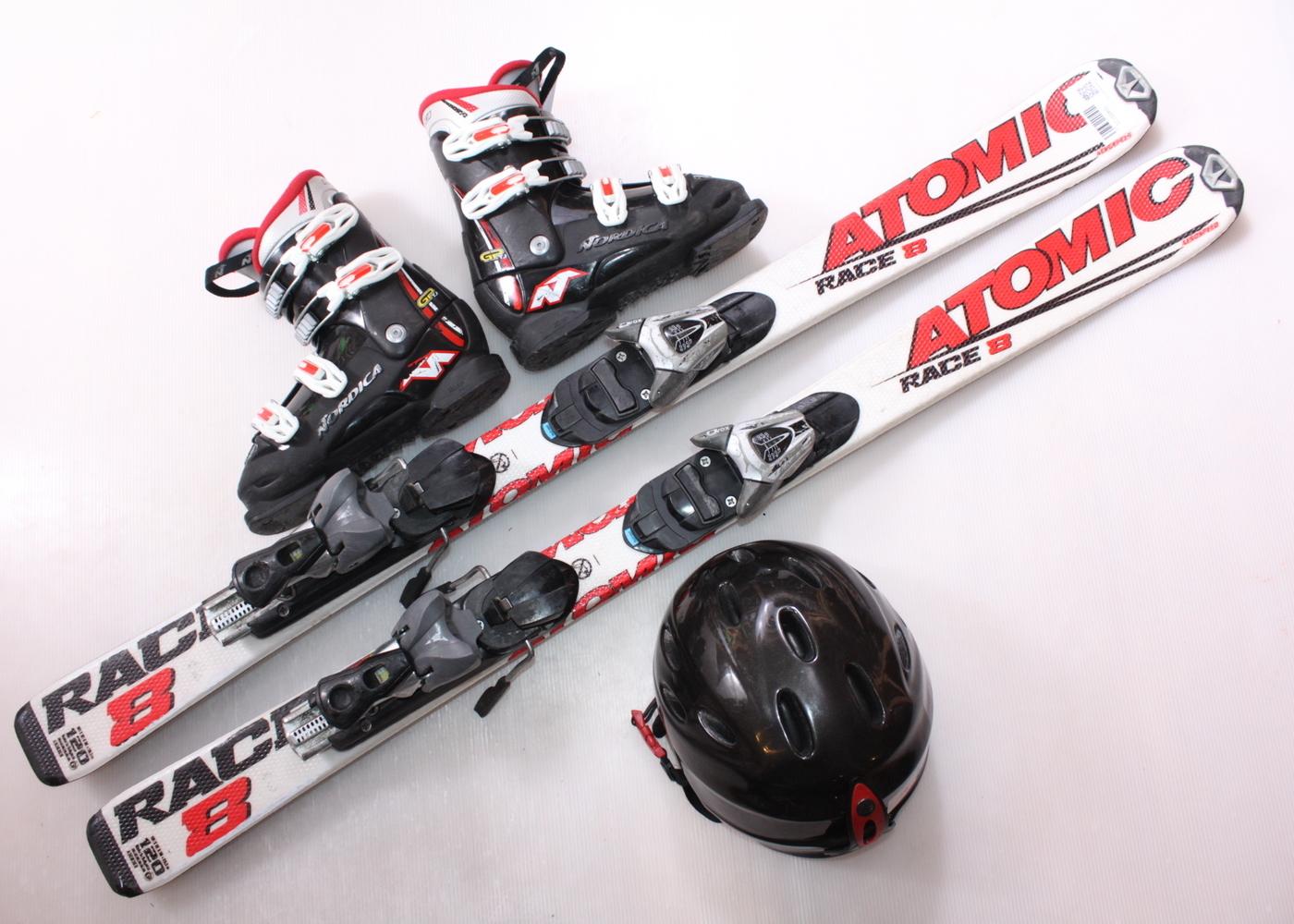 Dětské lyže ATOMIC RACE 8 120 cm + lyžáky  36EU + helma