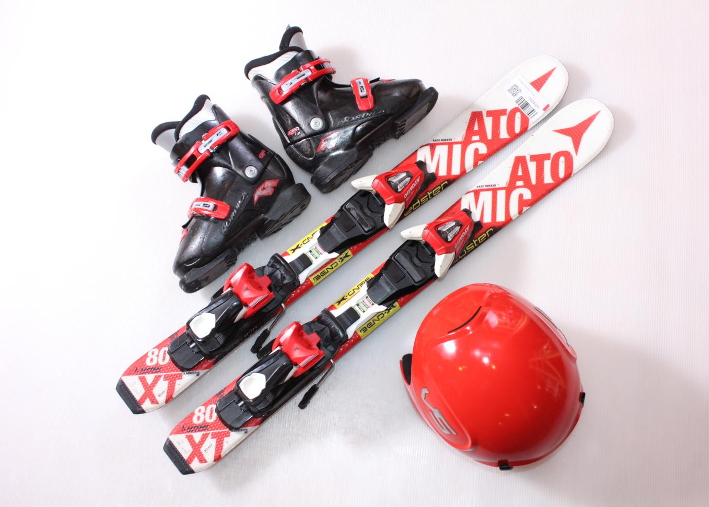 Dětské lyže ATOMIC REDSTER XT 80 cm + lyžáky  28.5EU + helma