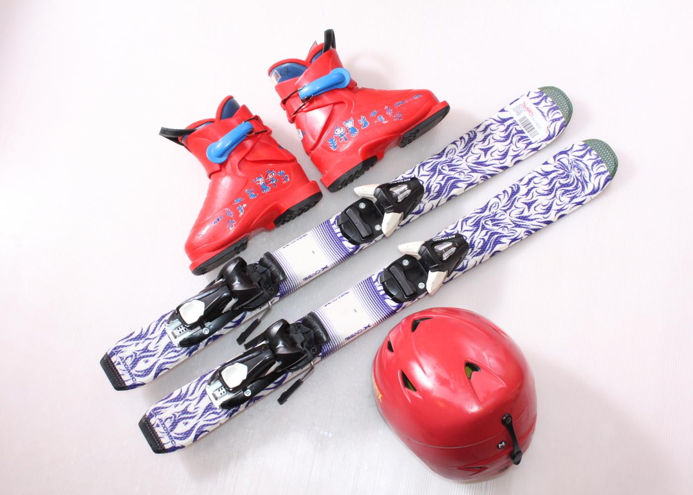 Dětské lyže ATOMIC ANIMAL FUN 80 cm + lyžáky  27EU + helma